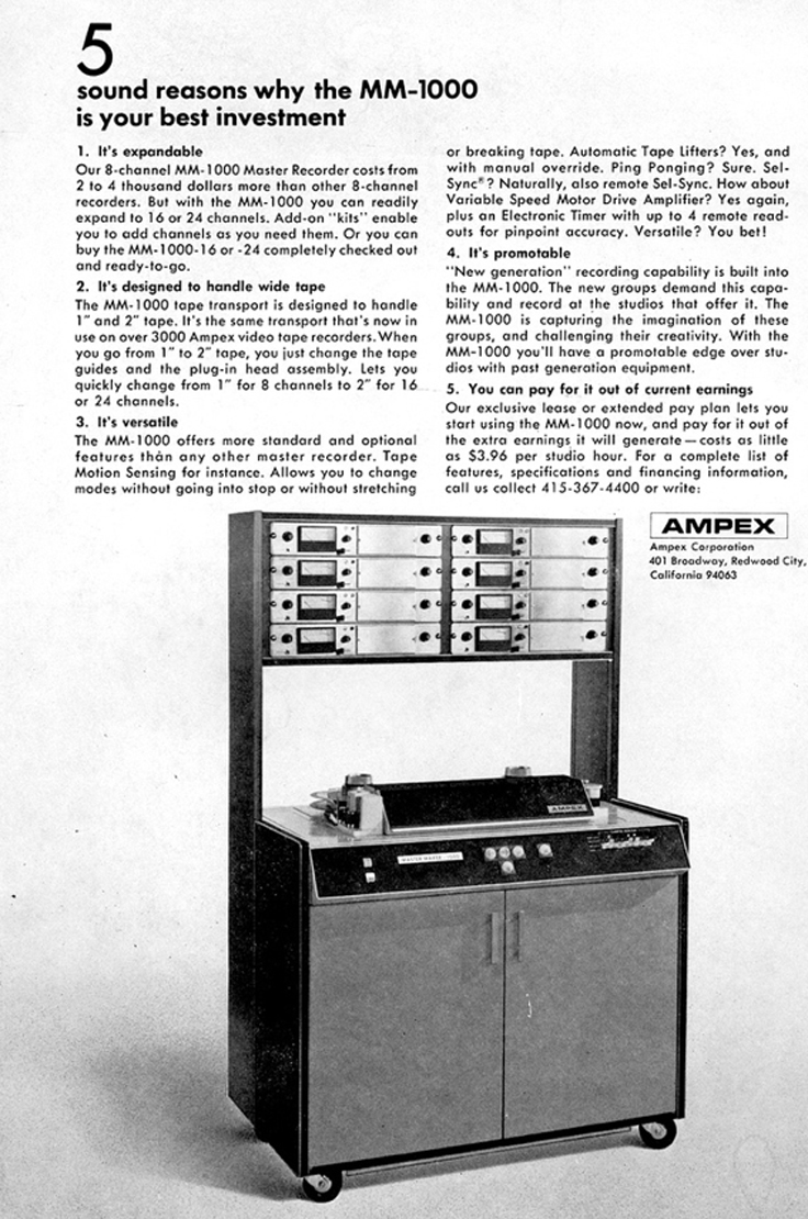 Ampex MM-1000 professional 8 track reel to reel tape recorder ad in the Reel2ReelTexas.com vintage recording museum