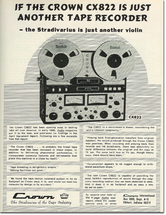 1968 Crown reel to reel tape recorder ad in the Reel2ReelTexas.com vintage recording collection