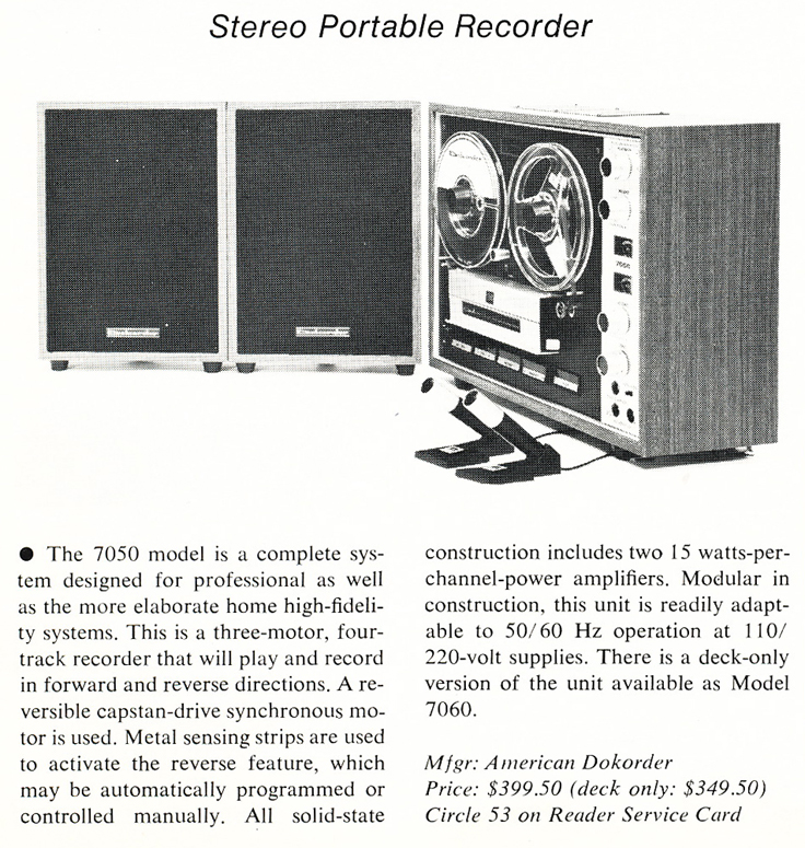 1976 ad for the Dokorder 1140 reel to reel tape recorder in the Reel2ReelTexas.com vintage recording collection
