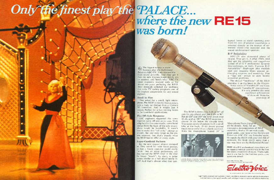 1968 ad for the Electro Voice RE-15 microphone in the Reel2ReelTexas.com vintage recording collection