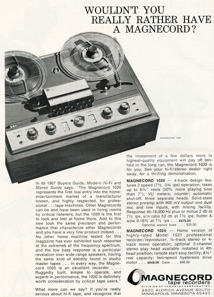 1968 ad for the Magnecord reel to reel tape recorder in the Reel2ReelTexas.com MOMSR vintage recording collection