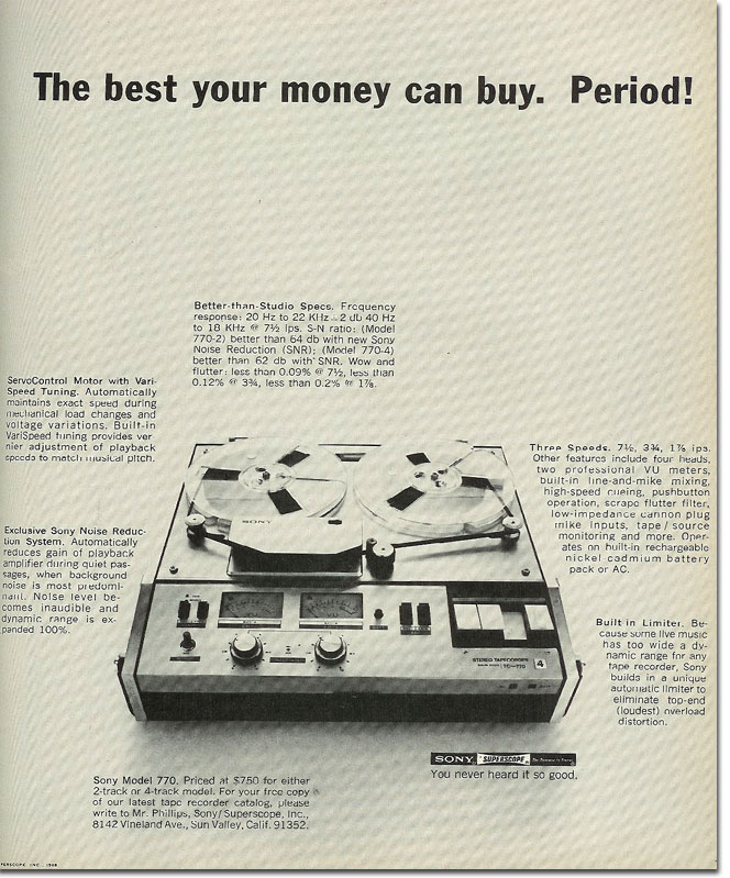1968 Sony 770 tape recorder ad
