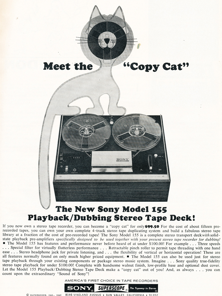 1968 ad for the Sony Model 155 reel to reel tape recorder in Reel2ReelTexas.com's images/R2R/vintage recording collection