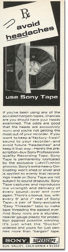 1968 Sony PR-150 recording tape  ad