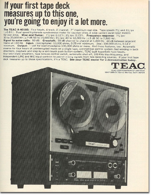 1968 Teac ad for the A-4010 open reel tape recorder in the Reel2ReelTexas.com vintage recording collection