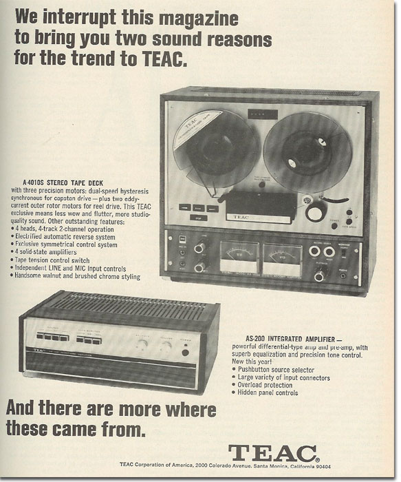 1968 Teac ad for the A-6010 open reel tape recorder in the Reel2ReelTexas.com vintage recording collection