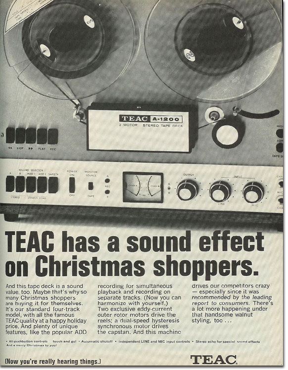 1968 Teac ad for the A-1200 open reel tape recorder in the Reel2ReelTexas.com vintage recording collection