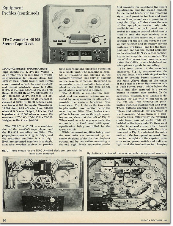 1968 Teac review of the A-4010 open reel tape recorder in the Reel2ReelTexas.com vintage recording collection