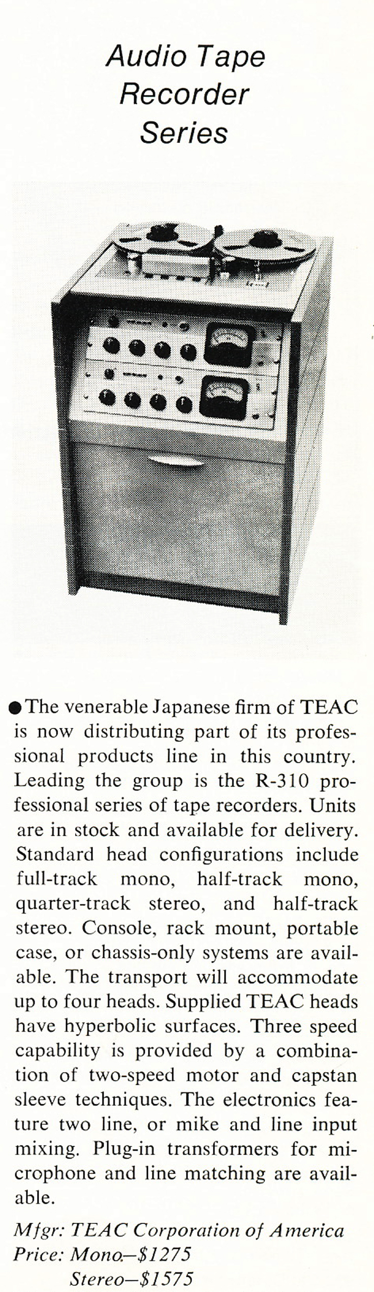 1968 Teac ad for the R-310 professional  open reel tape recorder in the Reel2ReelTexas.com vintage recording collection