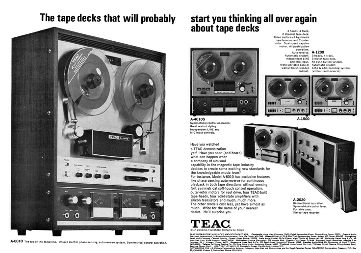 1968 Teac ad for several of the open reel tape recorders in the Reel2ReelTexas.com vintage recording collection