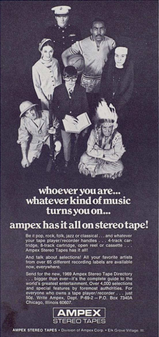 Ampex 1969 Ampex recording tape ad  in the Reel2ReelTexas.com vintage recording collection