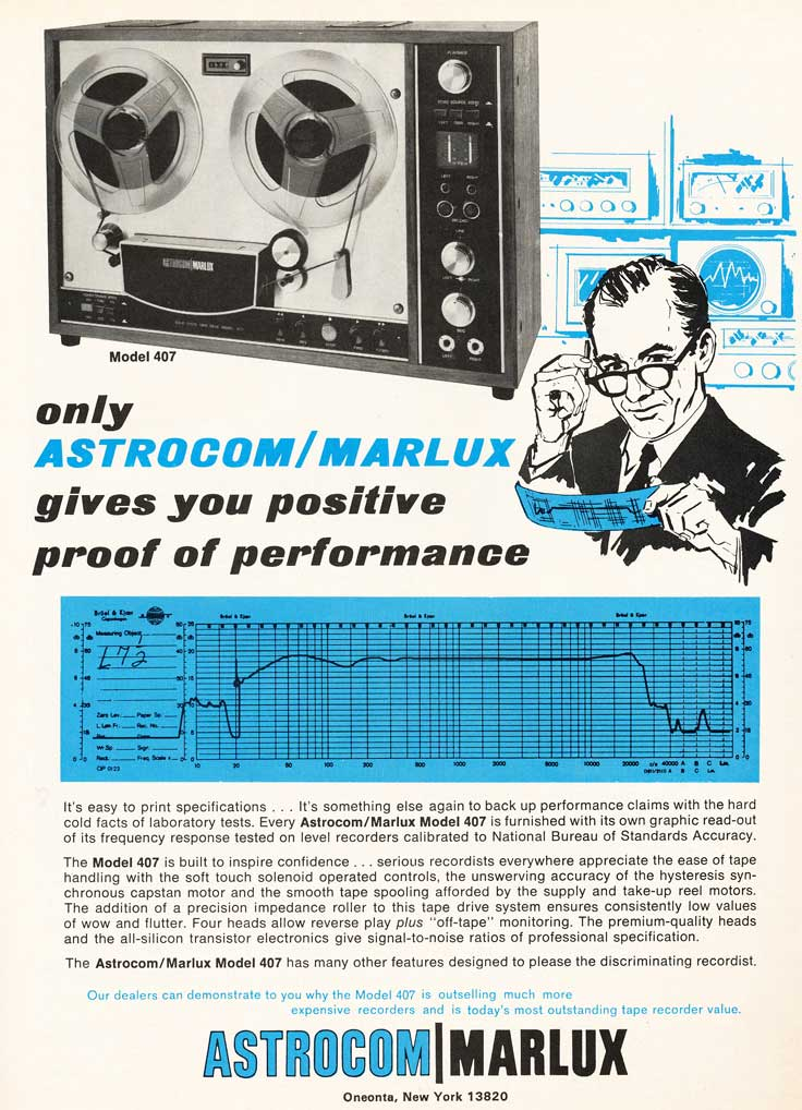 1969 and 1970 ad fro Astrocom reel to reel tape recorders in the reel2reeltexas.com/Museum of Magnetic Sound Recording vintage recording collection
