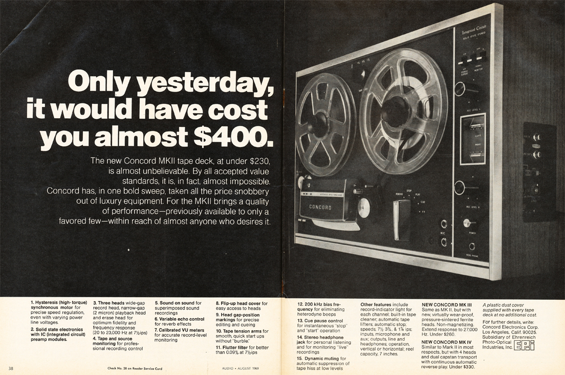 Concord reel to reel tape recorder ad in the MOMSR Reel2ReelTexas.com vintage recording collection