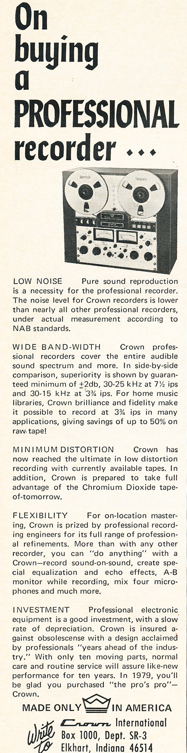 1969 Crown reel to reel tape recorder ad in the Reel2ReelTexas.com vintage recording collection