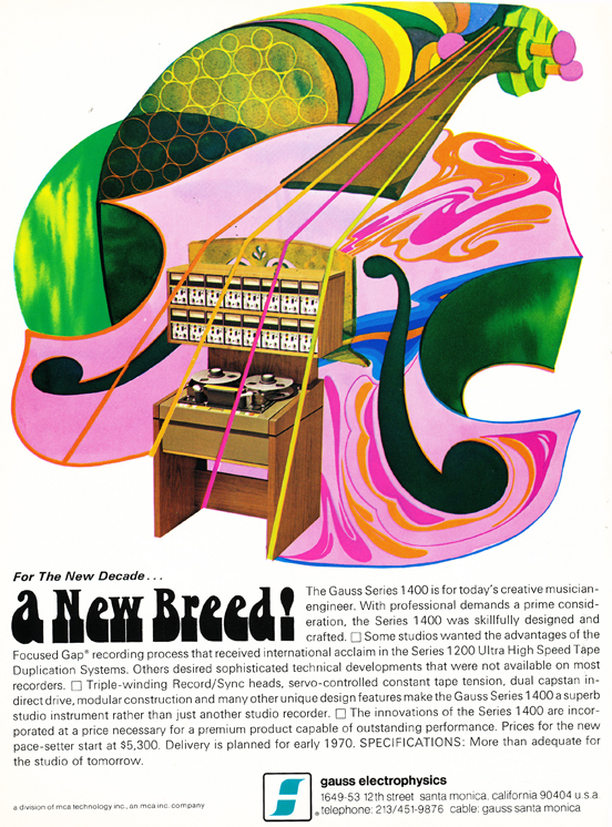 1971 ad for the Gauss  reel to reel tape recorder  in the Reel2ReelTexas.com vintage recording collection