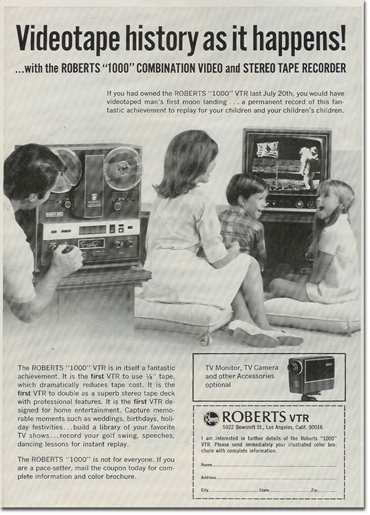 1969 ad for the Rheem Roberts combination stereo audio and b&w video recorder