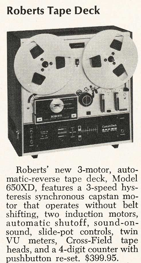 1969 ad for the Roberts 650XD reel tape recorder in Reel2ReelTexas.com's vintage recording collection