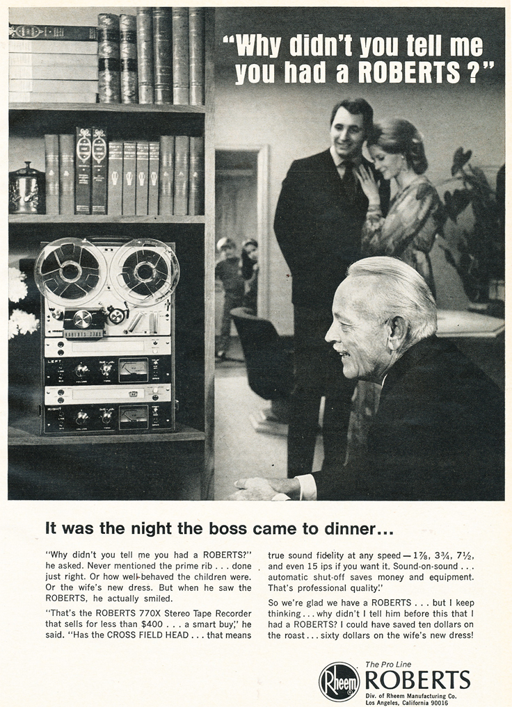 1969 ad for the Roberts 770X reel to reel tape recorder in the Reel2ReelTexas.com vintage recording collection