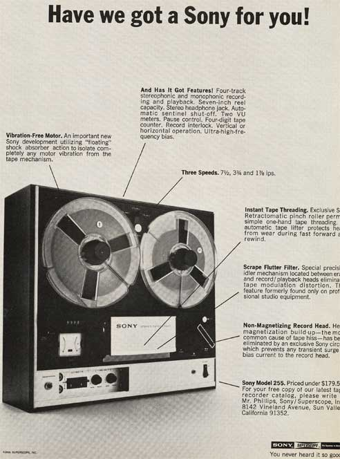1969 Sony 255 reel tape recorder ad in Reel2ReelTexas.com's images/R2R/vintage recording collection