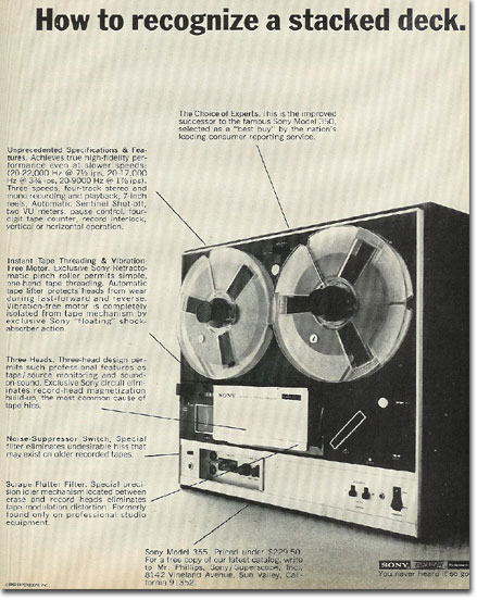 picture of 1969 Sony 355 tape recorder ad