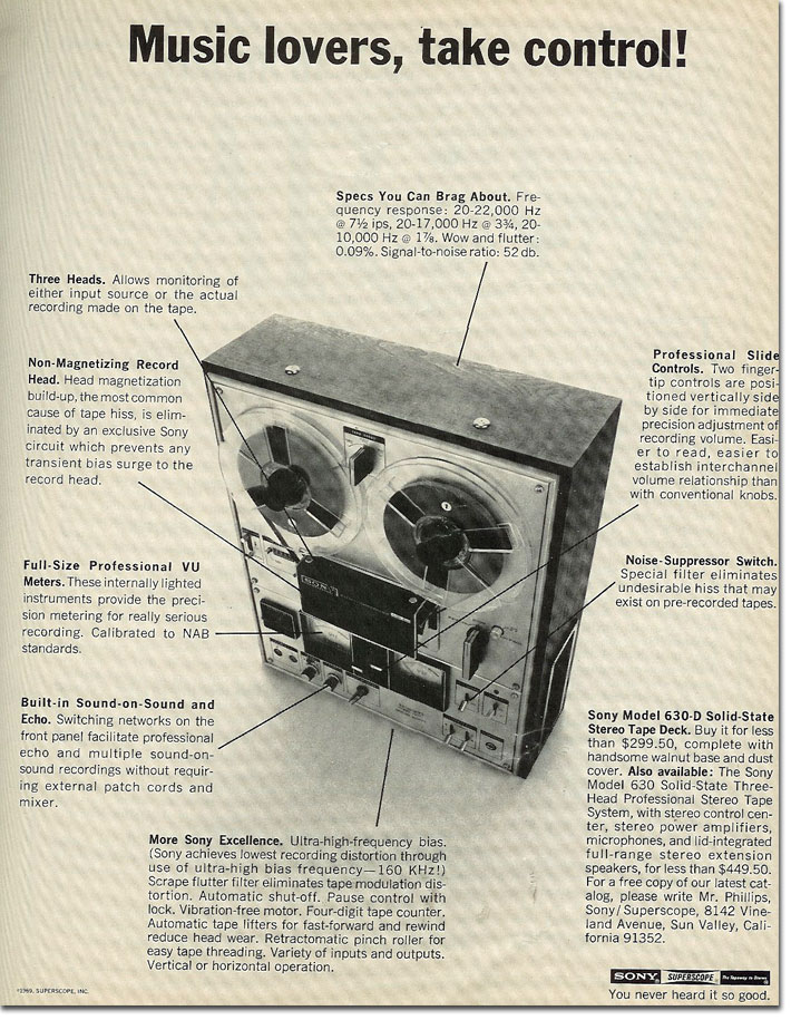 picture of 1969 Sony 630 tape recorder ad