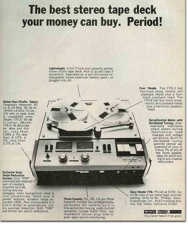 1969 ad for the Sony TC-772 2 track professional on location reel tape recorder in the Reel2ReelTexas.com's vintage reel tape recorder recording collection