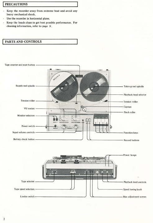 1969 Owners manual pages for the Sony TC-772 professional reel tape recorder in Phantom Productions' images/R2R/vintage reel tape reorder collection