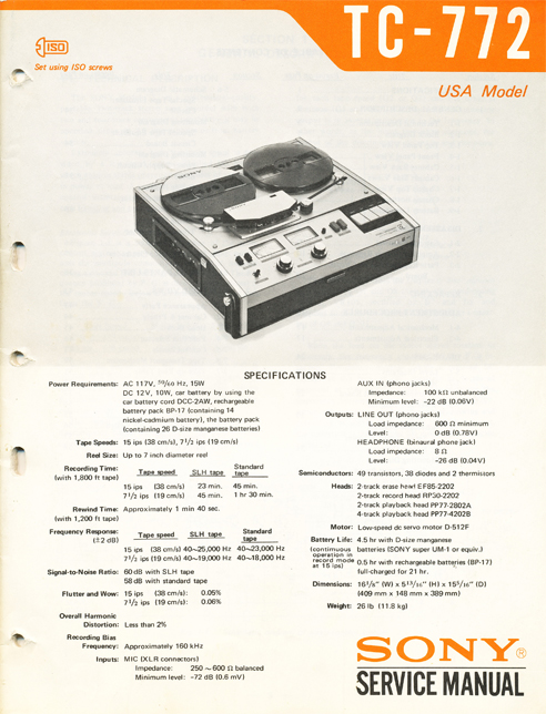 1963 cover of the Sony TC-772 reeel tape recorder service manual in Reel2ReelTexas.com's images/R2R/vintage reel tape recorder collection