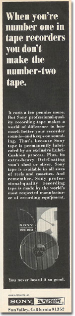 1969 ad Sony tape in Reel2ReelTexas.com's images/R2R/vintage recording collection