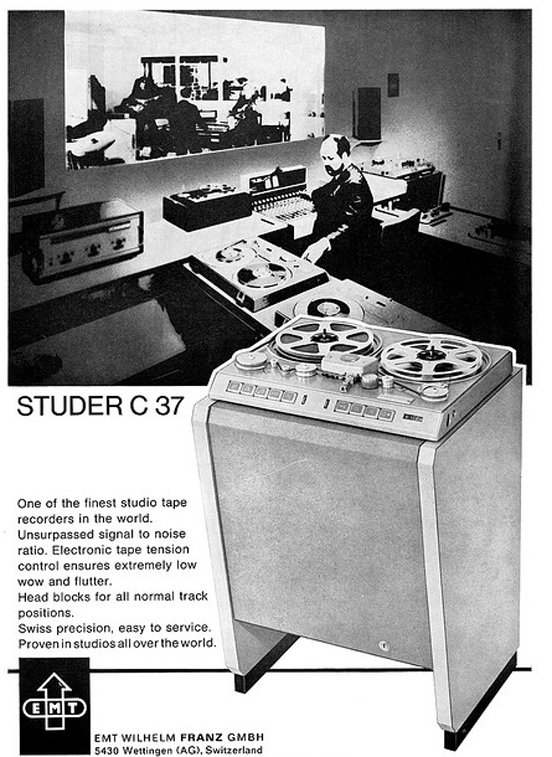 1969 ad for the Studer C 37  reel to reel tape recorder from Willi Studer in the Reel2ReelTexas.com vintage recording collection