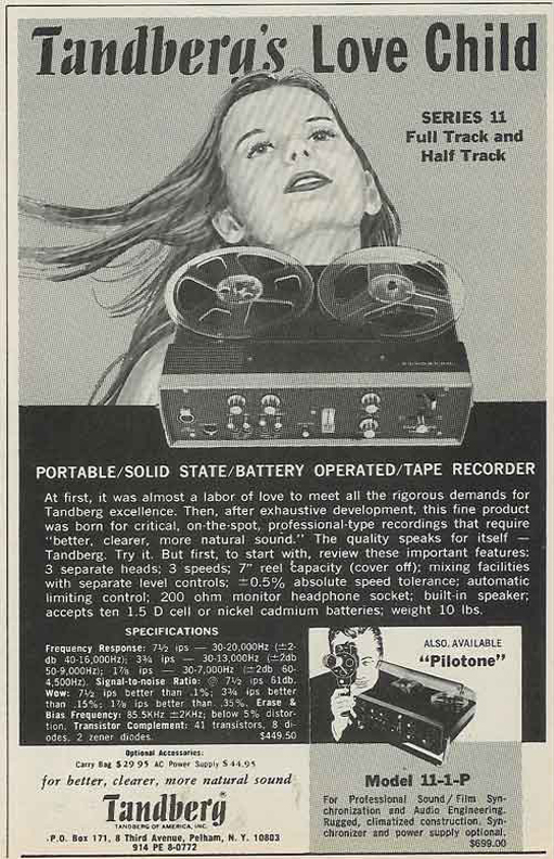 1969 ad for Tandberg  reel to reel tape recorders in the Reel2ReelTexas.com vintage recording collection
