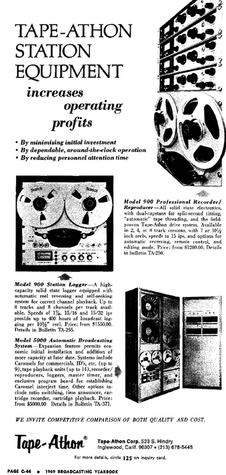 1969 Tape Athon ad in reel2reeltexas.com and Museum of Magnetic Sound Recording vintage recording collection