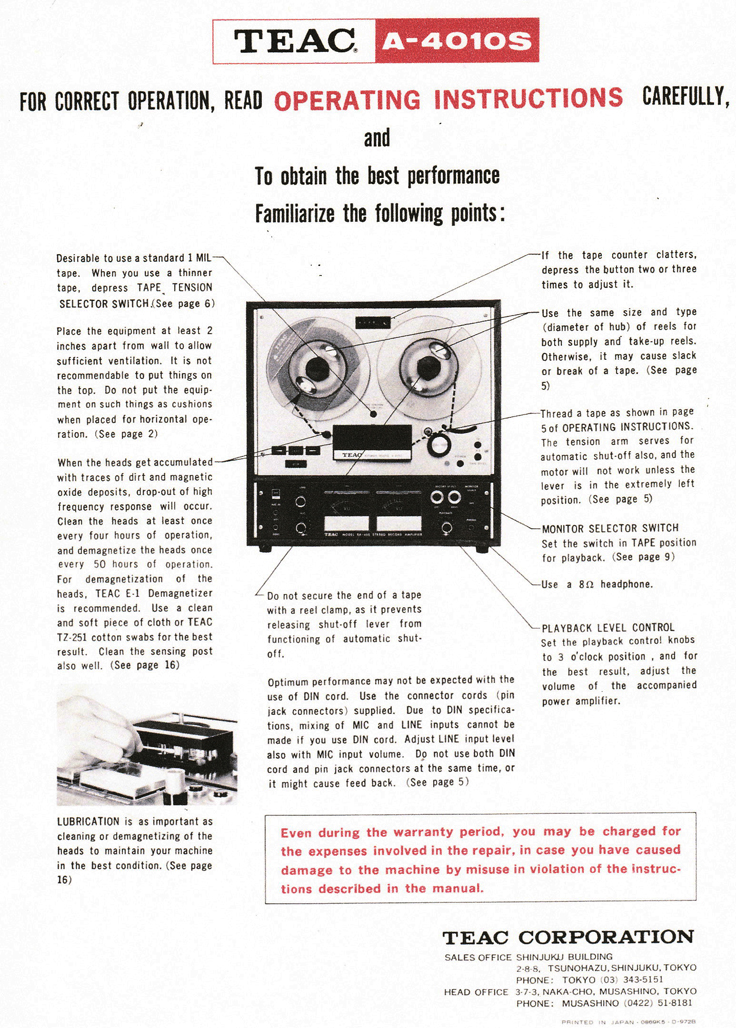 1969 ad for the Teac A-4010S reel to reel tape recorder in the Reel2ReelTexas.com vintage recording collection