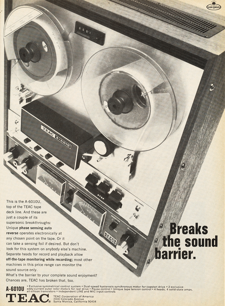 1969 ad for the Teac A-6010 reel to reel tape recorder in the Reel2ReelTexas.com vintage recording collection