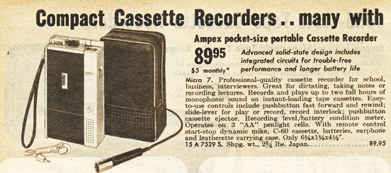 1970 ad for the Ampex Mirco 7 cassette recorder in Reel2ReelTexas.com  vintage recording collection