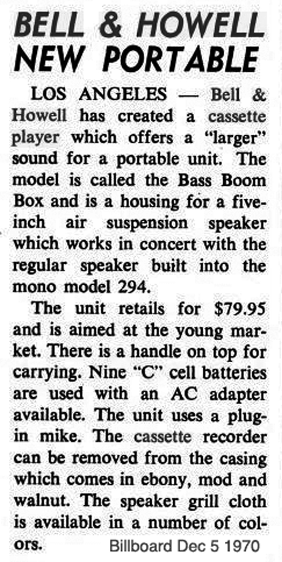 "December 5, 1970 Billboard article on the Bell & Howell Bass Boom Box cassette player with cylinder enclosure including 5"" air suspension speaker in Reel2ReelTexas.com''s vintage recording museum"