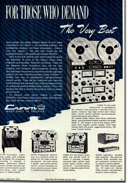 1970 Crown reel to reel tape recorder ad in the Reel2ReelTexas.com vintage recording collection