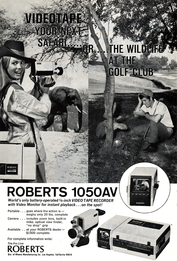 Rheem Roberts B&W video camera and recorder 1050AV ad in Reel2ReelTexas.com vintage reel tape recording collection