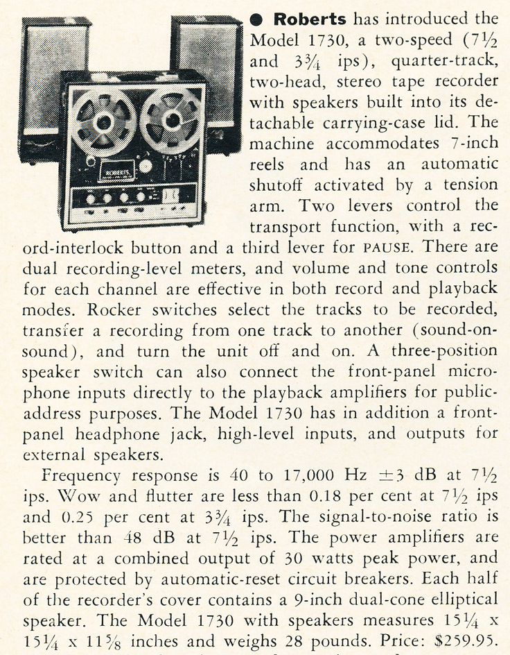 1970 summary about the Roberts 1730 reel to reel tape recorder in Reel2ReelTexas.com's vintage recording collection