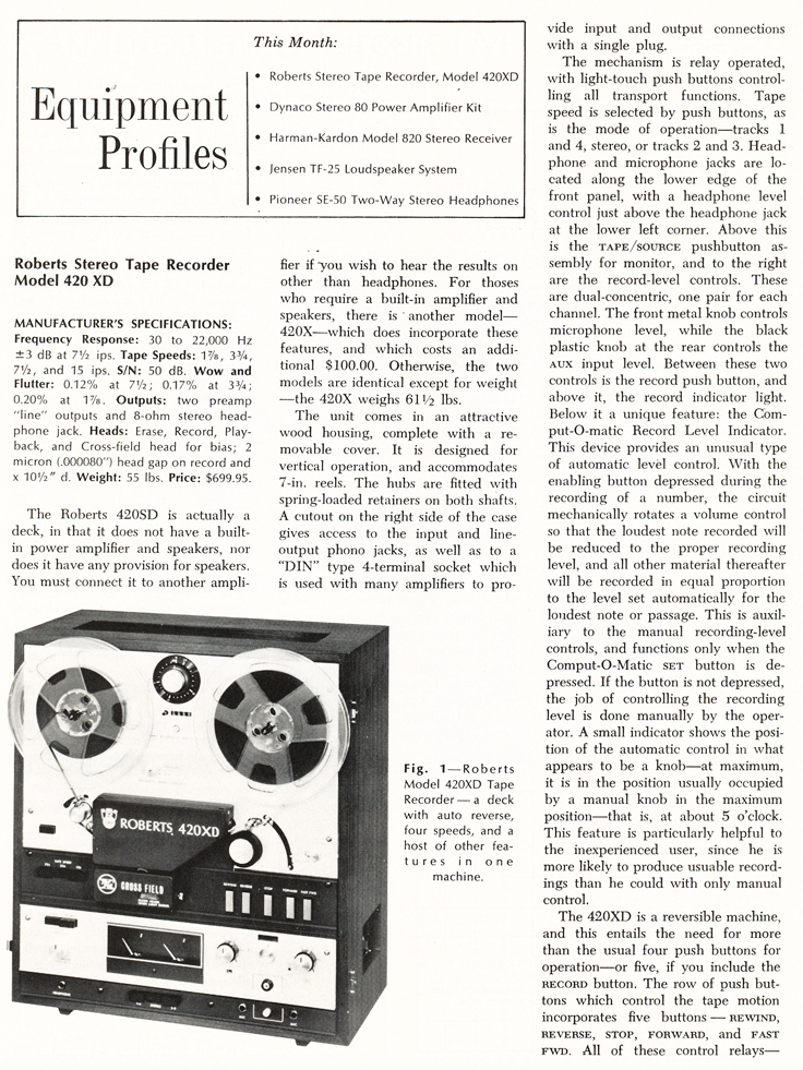 1070 review of the Roberts 420XD reel to reel tape recorder in   Reel2ReelTexas.com vintage recording colection