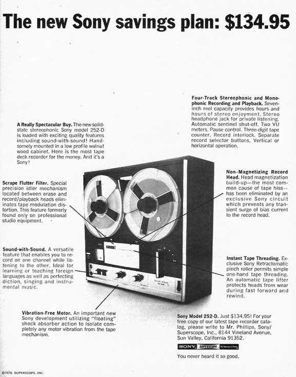 1974 Sony TC-252D reel to reel tape recorder ad in Reel2ReelTexas'vintage recording collection