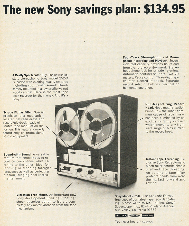 1970 ad for the Sony 252D reel to reeel tape recorder in Reel2ReelTexas.com's images/R2R/vintage recording collection