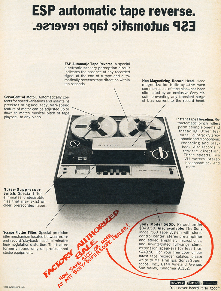 1970 ad for the Sony 560 reel to reel tape recorder  in Reel2ReelTexas.com's images/R2R/vintage recording collection