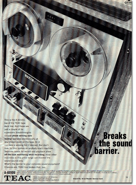 Teac 6010 reel tape recorder ad in the Museum of magnetic Sound Recording