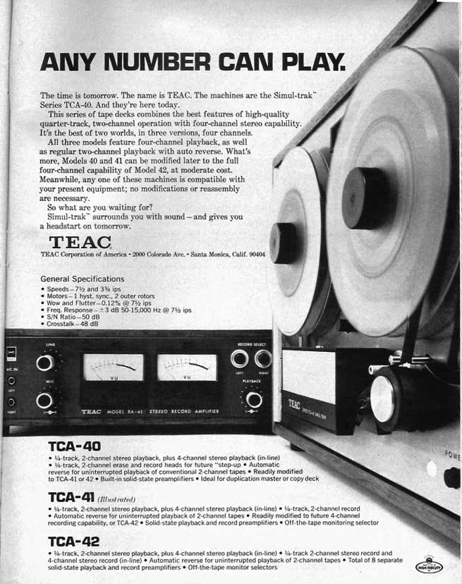 1970 ad for the Teac TCA-40tape recorder ad in the Reel2ReelTexas.com vintage recording collection