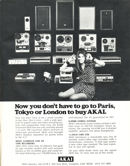 1971 ad for Akai reel to reel tape recorders reflecting that Akai could now sell their tape recorders in the US after an agreement with Roberts Recorders expired.  Ad is part of the Reel2ReelTexas.com vintage reel to reel recording collection