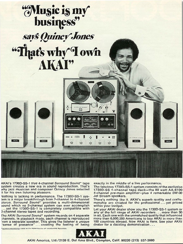 1971 ad for the Akai 1730D-ss reel to reel tape recorder featuring Quincy Jones in the Reel2ReelTexas.com vintage recording collection