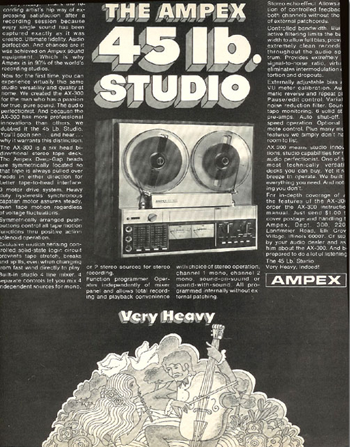 Ad for the Ampex AX-300 reel to reel tape recorder in the Reel2ReelTexas.com vintage recording collection