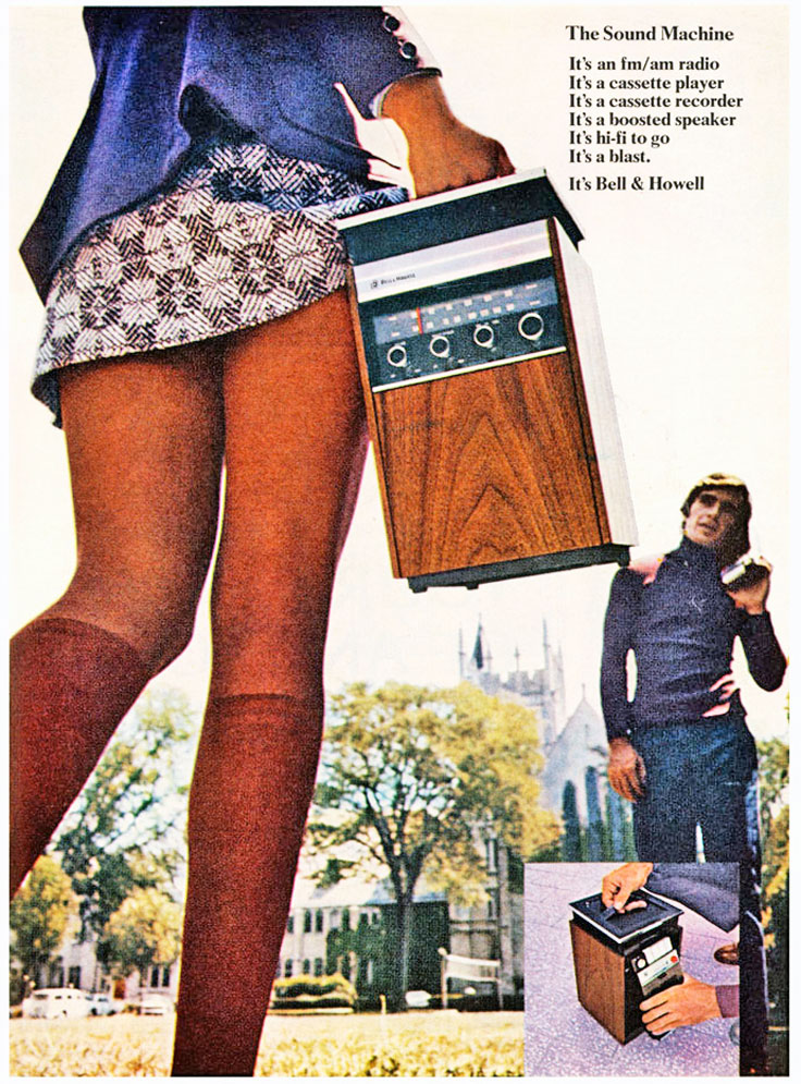 1971 ads for Bell & Howell's various portable playerscassette