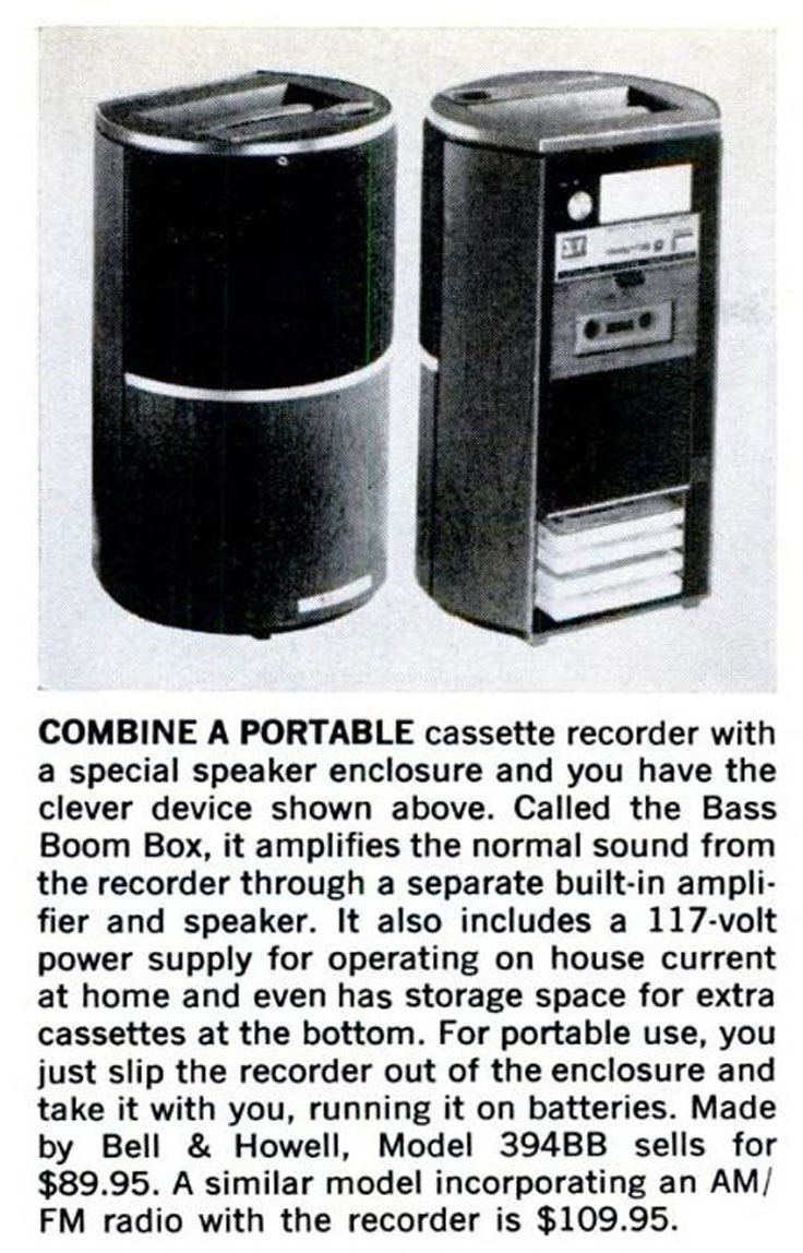 1971 ads for Bell and Howell's various portable playerscassette